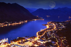 Night city in mountains Royalty Free Stock Images
