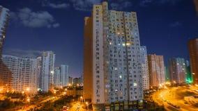 Night city. Multi-storey houses at night stock video footage