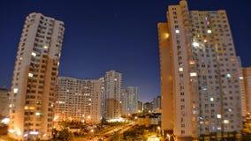 Night city. Multi-storey houses at night stock video