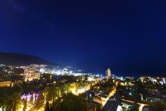 Night city near sea. Russia, Black sea, Yalta Stock Images