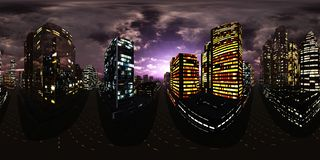 Free Night City,night Skyscrapers, HDRI, Environment Map Stock Images - 137679634