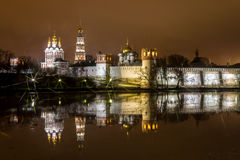 Night city,the Novodevichy convent in Moscow Stock Photos
