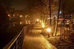 The night city Opole of Poland Stock Photo