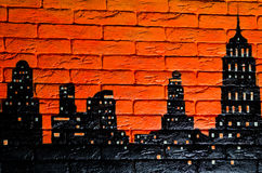 Night city painted on brick stone wall Royalty Free Stock Photo