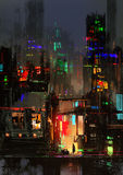Night city painting. Digital painting showing city at night scene Royalty Free Stock Photo
