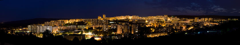 Night city panorama - bratislava Royalty Free Stock Photography