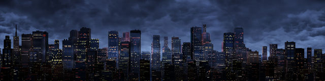 Night city panorama. 3D render of night time modern city under storm clouds Royalty Free Stock Image
