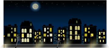 Night city panorama with nightsky and moon. Simple night city panorama with nightsky and moon Stock Photography
