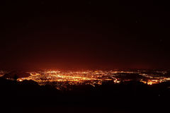 Night city panorama at Salzburg Stock Image