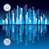 Night city panorama vector illustration Royalty Free Stock Photography