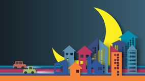 Night city paper art style. Colorful night city and urban landscape with half moon background paper art style design.Vector illustration Stock Images