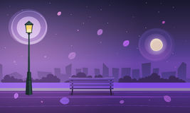 Night in city park. Cartoon illustration of the city park at night time Royalty Free Stock Image
