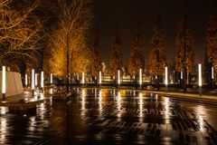 Night city park in the city of Krasnodar, Russia. The park is made in the same design style and contains a lot of geometry and royalty free stock photography
