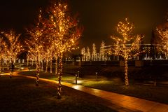 Night city park in the city of Krasnodar, Russia. The park is made in the same design style and contains a lot of geometry and royalty free stock photo
