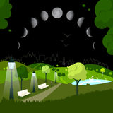Night City Park. With Moon Phases on Sky Stock Photos