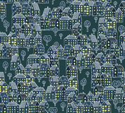 Night City Pattern. Night City Illustration is seamless pattern (repeated) made of differnet houses set. Illustration is in eps8  mode Stock Image