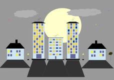 Night city. Pattern night city HD live Wallpaper moon Stock Photo