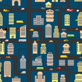 Night city pattern. Skyscrapers and transportation urban seamles Royalty Free Stock Photography