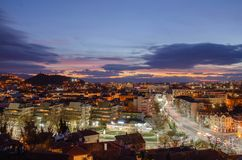 Night city Plovdiv, Bulgaria. View from one of the hills stock photos