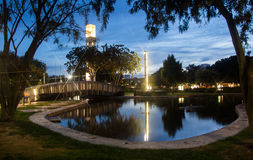 Night City Pond. Night pond view of Palmerston North square Stock Photo