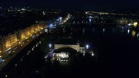 Night city of Prague, Zofin Palace, streets of Prague, PALC OFN, panoramic view from above, aerial stock video footage