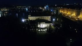 Night city of Prague, Zofin Palace, streets of Prague, PALC OFN, panoramic view from above stock footage