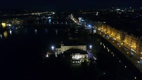 Night city of Prague, Zofin Palace, streets of Prague, PALC OFN, panoramic view from above stock video footage