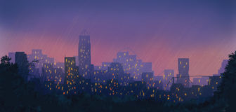 Night city. In the rain/ digital painting Stock Photo