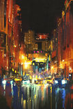 Night city in the rain. With reflections on wet street,digital painting Royalty Free Stock Photo