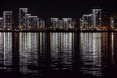 Night city. Reflection. Stock Photos