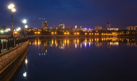 Night city reflection on the river Stock Photography
