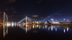 Night city reflections in river Royalty Free Stock Photography