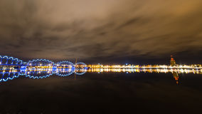 Night city reflections in river Stock Photography
