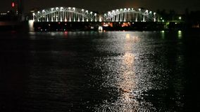 Night city river bridge  blurred outlines Royalty Free Stock Images