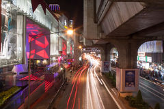 Night City Road. Blurred lights. City road and BTS Skytrain Track in Bangkok, Thailand Royalty Free Stock Photography