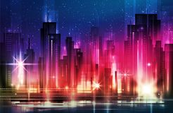 Night city with road and illuminated buildings  illustration. Night city with road and illuminated buildings on blur background  illustration Stock Photography