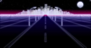 Night city road 80 Retro Background Loop 3d render. Night city road lanterns and moon 80s Retro Futurism wireframe Background seamless loop 3d illustration royalty free illustration