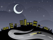 Night City and Road. Silhouette of night city abstraction with the road leading to it Stock Images
