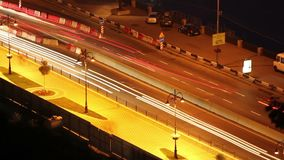 Night city road time lapse cars move leaving long traces. Stock footage stock video footage