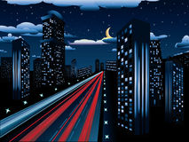 Night City Road. Urban background, skyscrapers and road in the night city Royalty Free Stock Photos