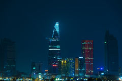 Night City of Saigon, downtown Royalty Free Stock Images
