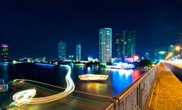 Night City Scape. Taksin bridge Sathorn at Bangkok, Thailand Royalty Free Stock Photo