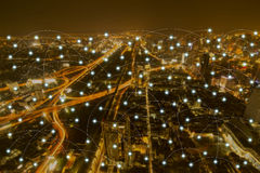 Night city scape and network connection concept Stock Photos