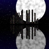 Night city scene with moon Royalty Free Stock Photography