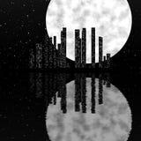 Night city scene with moon Stock Photography