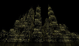 Night city scene rendered Stock Photography