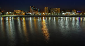 Night city on the sea shore Stock Photography