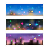 Night in city. Seamless banners. Royalty Free Stock Photo