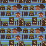 Night city seamless pattern Royalty Free Stock Photo