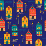 Night city seamless pattern Stock Photo